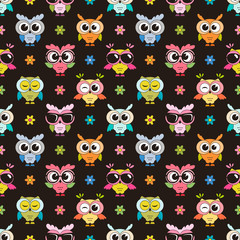 seamless pattern with cute colorfull owls