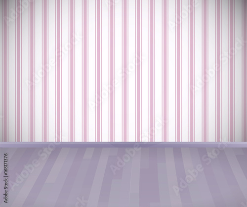 empty room with wooden floor or parquet and striped pink wallpaper