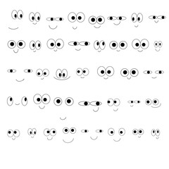 Set of cute cartoon smiling emoticons. Eyes and mouths. Isolated on white background.