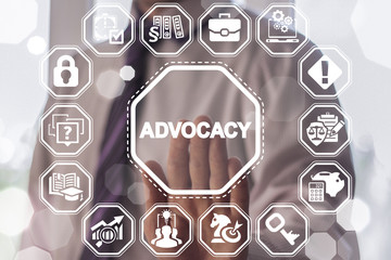 Advocacy Law and Legal concept. Man presses advocacy button on a virtual graphical user interface.