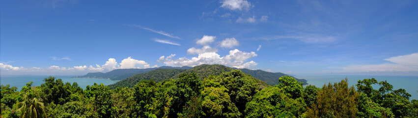 Penang National Park  (Taman Negara Pulau Pinang)  - scenic panoramic view of the island from the top of the hill.