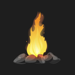 Set of cartoon Bonfires with stones on black background isolated vector illustration. Camping fire