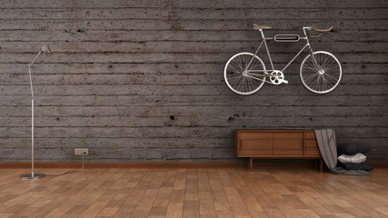 loft style interior brick walls and bike 3d rendering
