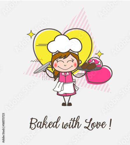 Cartoon Innocent Smiling Waitress Presenting Chicken Food Vector