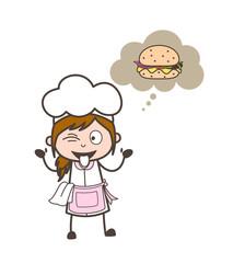 Cartoon Waitress Teasing for Burger Vector Illustration
