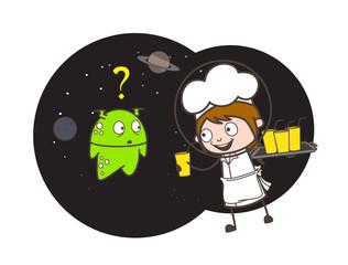 Cartoon Waitress Giving Drink to Thirsty Alien Vector Illustration
