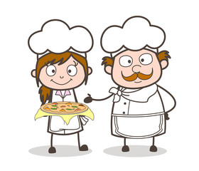 Cartoon Waitress and Chef Presenting Pizza Vector Illustration