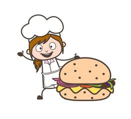 Cartoon Waitress Presenting a Large Hamburger Vector Illustration