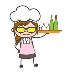 Cartoon Modern Waitress Presenting Wine Bottles Vector Illustration