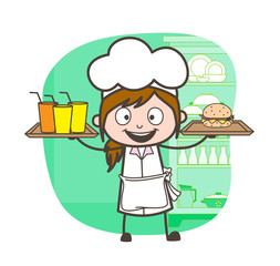 Cartoon Excited Waitress Holding Glasses and Burger in Each Hand Vector