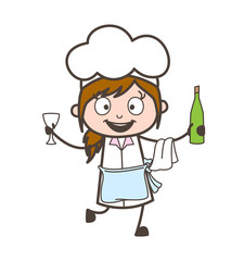 Cartoon Joyful Waitress Dancing with Wine Bottle and Glass Vector Illustration