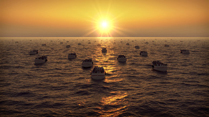 Refugees on boats floating on the sea sunset