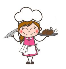 Cartoon Blushing Waitress Presenting Chicken Food Vector