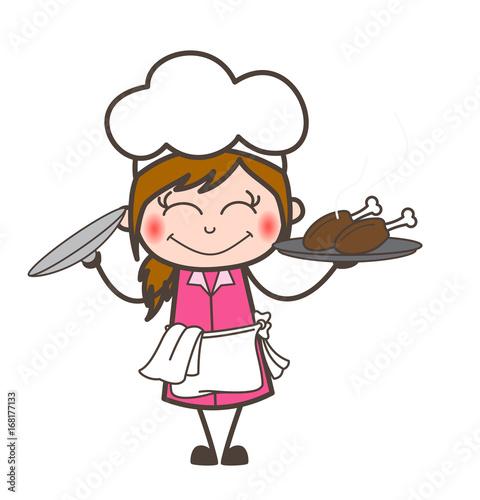 Cartoon Blushing Waitress Presenting Chicken Food Vector Stock