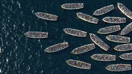 Refugees boat floating on the sea