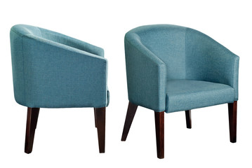 Colored chairs on a white background