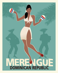 Beautiful girl dancing merengue with maracas. Retro style Dominican Republic poster.