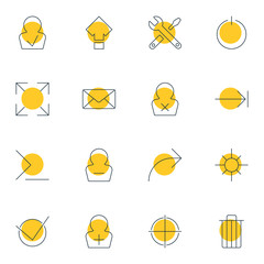 Vector Illustration Of 16 Interface Icons. Editable Pack Of Share, Maintenance, Banned Member And Other Elements.