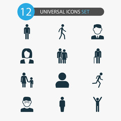 Person Icons Set. Collection Of Gentleman, Family, Happy And Other Elements. Also Includes Symbols Such As Running, Avatar, Woman.