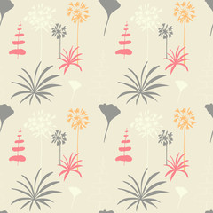 Floral vector seamless pattern with hand drawn dill and african lily flowers and fern leaves.