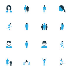 People Colorful Icons Set. Collection Of Stairs, Worker, Happiness And Other Elements. Also Includes Symbols Such As Head, Client, Rejoicing.