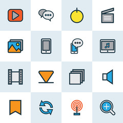 Multimedia Colorful Outline Icons Set. Collection Of Flag, Zoom In, Cellphone And Other Elements. Also Includes Symbols Such As Video, Clapperboard, Categories.