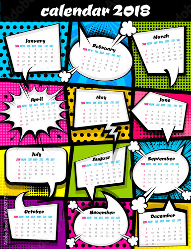 May Calendar Book : Quot calendar pop art template comic book colored