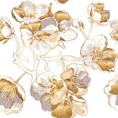 Foto op Aluminium Botanisch Seamless pattern with a light gold Cherry flowers. Vector illustration.