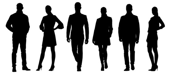 Set of businessmen vector silhouettes, group of men and women in formal dress