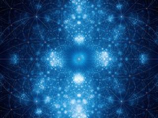 Blue glowing geometrical fibonacci shapes fractal