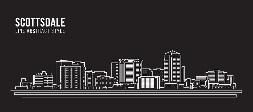 Cityscape Building Line art Vector Illustration design - Scottsdale city