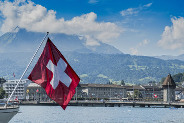 Lucerne cityscape swiss flag