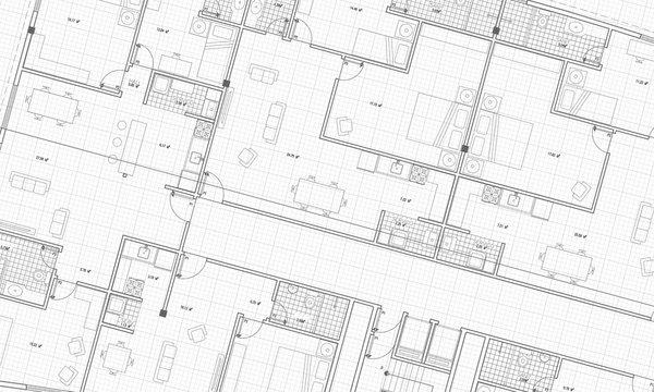 Clean Architecture Floor Plan Blueprint Style Grid White Background