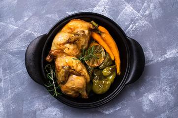 Halved baked chicken