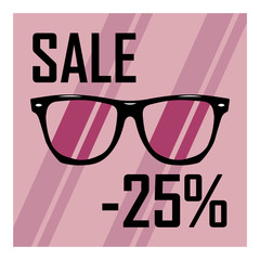 Beautiful glasses on the background of purple stripes with a black inscription discount of twenty five percent