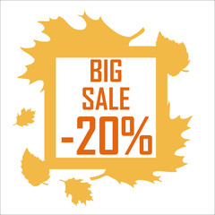 A big autumn sale of twenty percent surrounded by yellow leaves on a white background. Discount, cheap, sell