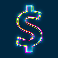 Dollar sign. Multicolor outline symbol with glowing effect on blue background. Vector EPS10