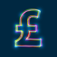 Pound sign. Multicolor outline symbol with glowing effect on blue background. Vector EPS10