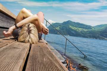 Woman relaxing at bathing area