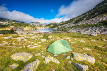 Pirin mountains / Magnificent summer panoramic view of the Frog lake in Pirin Mountains