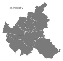 Hamburg city map with boroughs grey illustration silhouette shape