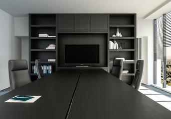 Konferenzraum mit Tisch und Stühlen.