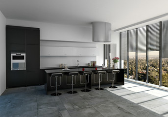 Spacious fitted kitchen with bar counter