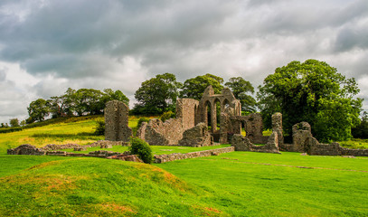 Inch Abbey in Northern Ireland. Monastery ruins in Downpatrick. Co. Down. Travel by car in summer.