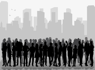 Vector, isolated, silhouette of a crowd of people on a city background