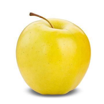 Fresh yellow apple isolated on white.