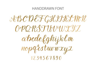 Handdrawn Vector Script font.  Brush style textured calligraphy cursive typeface.