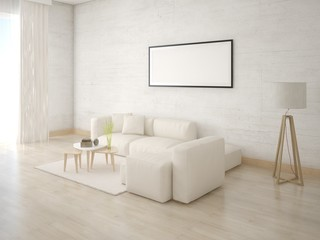 Mock up a comfortable living room with a light sofa and a trendy hipster background.