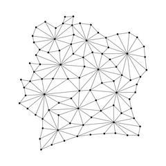 Ivory Coast map of polygonal mosaic lines network, rays and dots vector illustration.