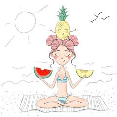 Girl sitting in a yoga pose